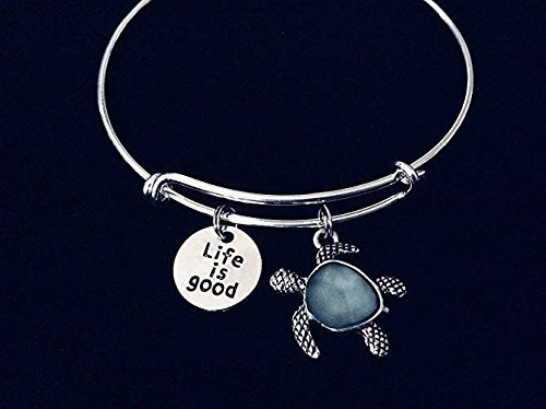 Sale Life is Good Green Sea Glass Turtle Jewelry Adjustable Bangle Charm Bracelet Fertility Charm Bangle Expandable Charm Bracelet Turtle Jewelry Personalization Options Available