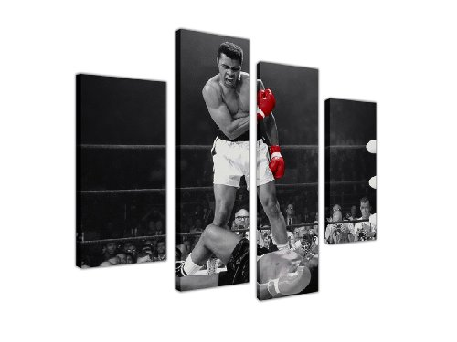 Leinwanddruck, Motiv: Mohammad Ali Boxhandschuhe, groß, 4-teilig, 90x71cm, Rot/Schwarz/Weiß