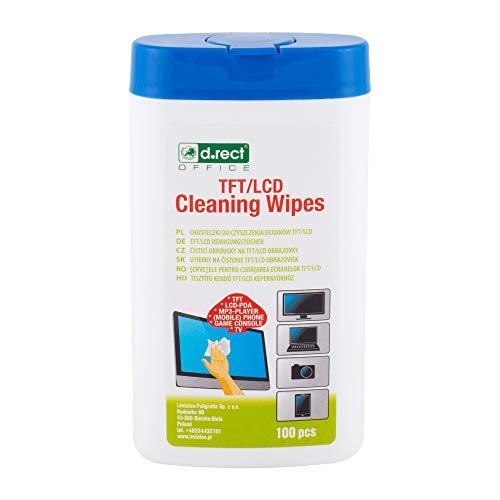 D.RECT 110276 Toallitas limpiadoras para pantallas LCD LED y teléfonos móviles Tablet o teclado táctil | Dispensador 100 toallitas