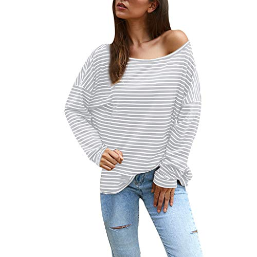 Best Deals! Ros1ock Women's Blouse Strapless Stripe Long Sleeve Tees Tops Casual Pullover Lightweigh...