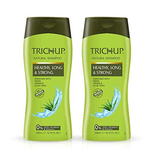 Trichup Healthy, Long & Strong Hair Shampoo - with The Natural Goodness of Aloe Vera, Neem & Henna (200ml) (Pack of 2)