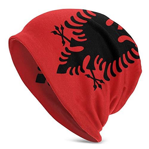 Qefgjbw Albanien Heulende Wölfe Beanie Mütze für Herren und Damen - Warme Unisex Manschette Einfarbig Schädel Strickmütze Kappe