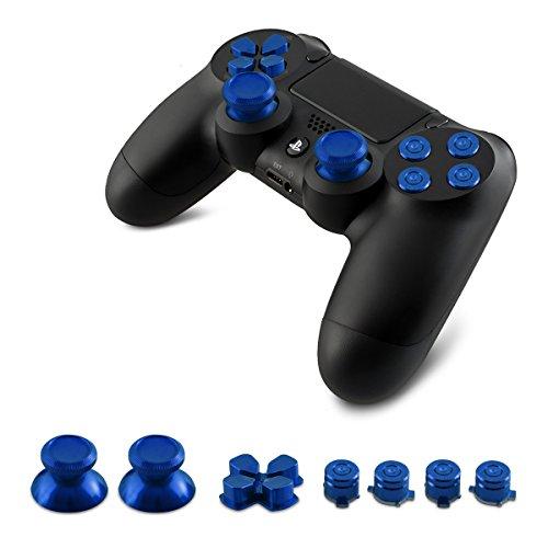kwmobile Ersatz Tasten kompatibel mit Playstation 4 Dunkelblau - 4 Aktionstasten 2 Thumbsticks 1 Steuerkreuz