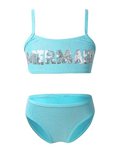 TiaoBug Mädchen Bikini Set Sport Bustier Top und Slip zum Schwimmen Pailletten Meerjungfrau Aufdruck Badekleidung Hellblau 104-110/4-5 Jahre