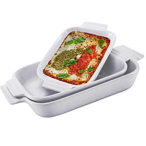 Hompiks Baking Dish Casserole Dish Porcelain Baking Dishes for the Oven Bakeware Set of 3 for Lasagna Kitchen White 11.02 x 8.35 Inch Baking Pans