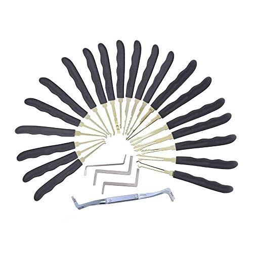 Loboo Idea Set di grimaldelli per gancio 24pcs, set di grimaldelli per presa pratica con sacchetto di plastica, 24 pz vari uncinetti per uncinetto, chiavi, astuccio in plastica per il lockpicking