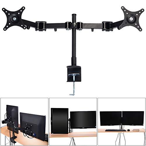 FKTVSTAND Desktop Dual-Computer-Monitor-Standplatz Vertical Array for 2 Screens Bracket Fit for 14-24 Zoll TV-Halterung