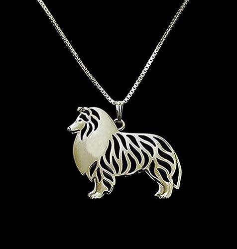 BEISUOSIBYW Co.,Ltd Collar 1 Pieza Collar de Perro Shetland Sheep Standing 3D Illustration Delicado Cachorro Colgante Collar conmemorativo y Colgantes para Mujeres y Hombres Regalo