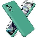 Ikziwreo - Funda para Xiaomi Redmi Note 10 Pro + [2 Pack] Protector Pantalla, Carcasa de Silicona Líquida Gel Ultra Suave Funda con tapete de Microfibra Anti-Rasguño - Verde Oscuro
