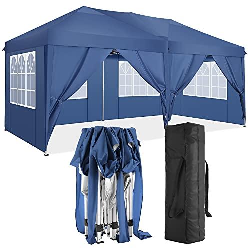 TOOLUCK Falt Pavillon 3x6 Wasserdicht UV-Schutz Pavillon Pop Up Gartenzelt with 6 Seitenteilen and Sandsacks (3x6M mit 6 Seitenteilen, Blau)