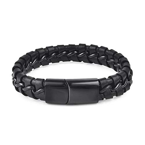 Jewellery Bracelets Bangle For Womens Fashion Leather Bracelet For Men Stainless Steel Bangles Punk Braided Rope Chain Vintage Wrist Jewelry Male Gift-2_20Cm