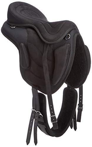 Cwell Equine Synthetischer Allzwecksattel, baumlos, Schwarz, Größen 40,6 cm / 41,9 cm / 44,5 cm