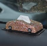LDTR - Scatola per fazzoletti da cruscotto a Forma di Auto, con Strass di Cristallo, per Donne e Ragazze, Champagne