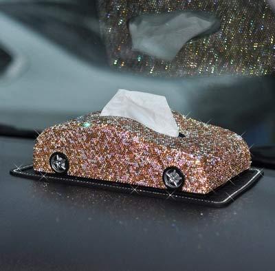 LDTR Auto Vorm Volledige Kristallen Strass Steentjes Dashboard Blok Papier Handdoek Cover Houder Voor Vrouwen Meisjes Accessoires