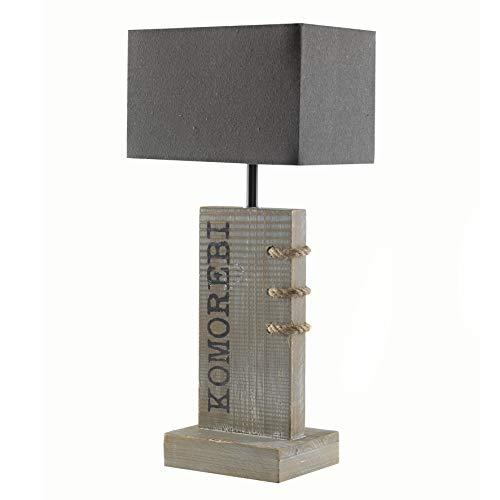 Onli Comorebi tafellamp gemaakt van hout met lampenkap E14, grijs, 22 x 16 x 48 cm, hout