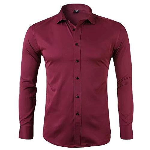Gdtime Camisas De Vestir De Fibra De Bambú para Hombre Slim Fit Color Sólido Camisas Casuales De Manga Larga Camisas con Botones, Camisas Elásticas Formales para Hombres (Rojo Vino, L)