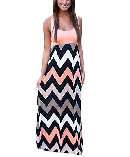 Très Chic Mailanda Sommerkleid Damen Partykleid Lang Chiffon High Waist Striped Sleeveless Beach Kleid Elegant, Pink, XXL