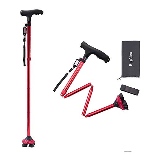 BigAlex Folding Walking Cane with LED Light,Pivoting Quad Base,Adjustable Walking Stick with Carrying Bag for Man/Woman (4'9''-5'6'' Red)