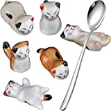 Pack of 6 Lovely Lucky Cat Ceramic Chopsticks Spoon Forks Knives Tableware Rest Set, Porcelain Stand Festive Dinner Table Ornament (6-Piece Lucky Cat+Spoon)