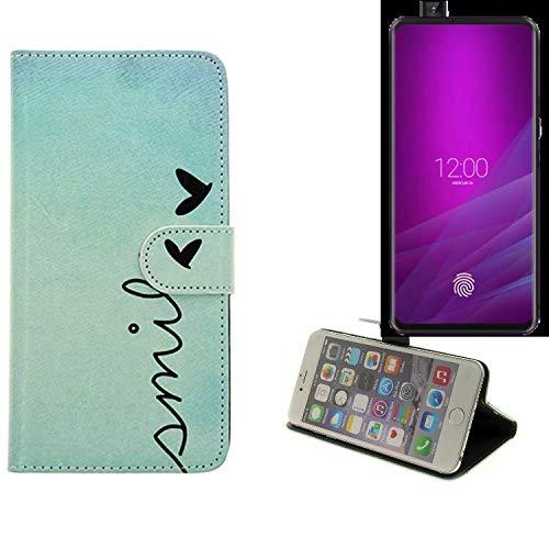 K-S-Trade® Schutzhülle Für Allview Soul X6 Xtreme Hülle Wallet Case Flip Cover Tasche Bookstyle Etui Handyhülle ''Smile'' Türkis Standfunktion Kameraschutz (1Stk)