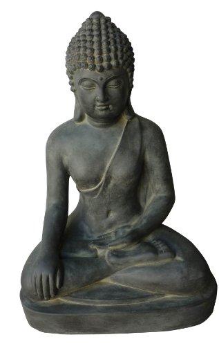 Figur Buddha sitzend Bhumisparsha-mudra - für Haus und Garten - Höhe 60 cm - schwarz