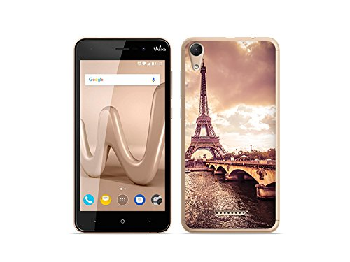 etuo Handyhülle für Wiko Lenny 4 - Hülle Foto Hülle - Seine & Eiffelturm - Handyhülle Schutzhülle Etui Hülle Cover Tasche für Handy