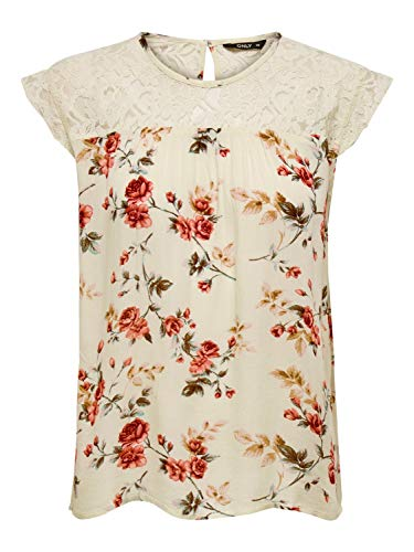 ONLY Womens ONLKARMEN S/L TOP AOP WVN NOOS Blouse, AOP:Rose Flower Creme Brûlée, 36