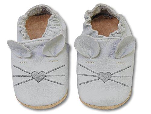 HOBEA-Germany Krabbelschuhe Babyschuhe mit Tieren, Schuhgröße:24/25 (24-30 Monate), Modell Schuhe:Maus hellgrau