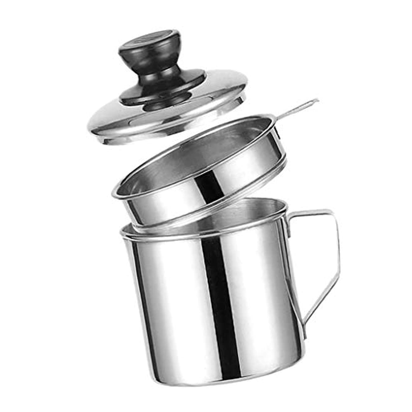 Prettyia Bacon Grease Keeper Container with Strainer, Stainless Steel Oil Storage Catcher Container, Grease Can for Kitchen Restaurant Use, Silver - 14cm