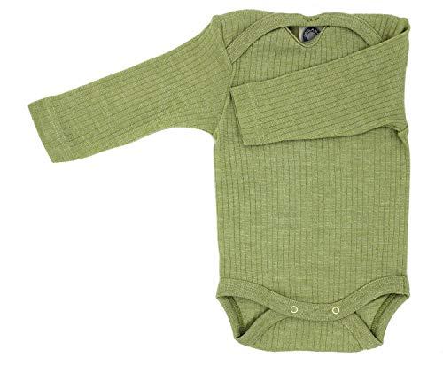 Cosilana Baby Body 1/1 Arm, Größe 86/92, Farbe Grün Meliert - Exclusiv Wollbody®GmbH - Qualität 91 45% Baumwolle kbA, 35% Schurwolle kbT, 20% Seide