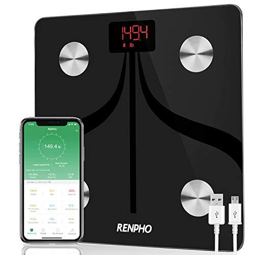 RENPHO Smart Scale Bilancia Smart Bluetooth Digitale con App, USB Ricaricabile Controllo Wireless della composizione corporea con indicazione di, Peso corporeo,% Grasso Corporeo, BMI