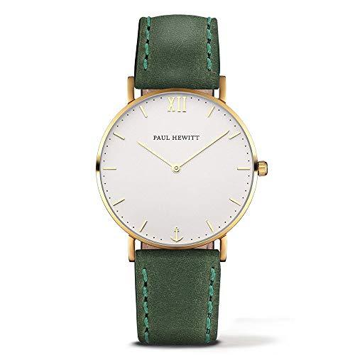 Paul Hewitt Unisex Analog Quarz Uhr mit Leder Armband PH-SA-G-Sm-W-12M