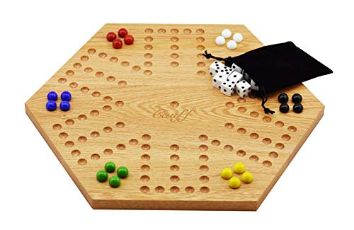Solid Oak Double Sided Aggravation Marble Board Game Wooden 16 inch by Cauff