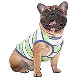 iChoue 100% Cotton Striped Dog Shirts Tank Top Vest Clothes for Medium Dogs Boy French Bulldog Frenchie Pug English Summer Green Stripes - M