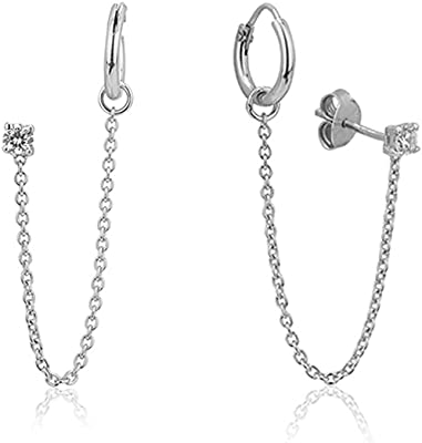 Hikaro Pendiente de Piercing Doble Conectado con Cadena de joyería de Plata esterlina con Piedras de circonita cúbica y baño de rodio para Mujeres y niñas