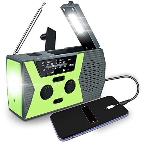 Vokida Radio de Emergencia, Radio de Manivela, Radio Solar, Radio Meteorológica para Senderismo y Exteriores con Am/FM, Alarma SOS, Puerto de Carga USB, Linterna LED, Lámpara de Lectura