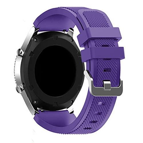WWXFCA Correa de silicona inteligente para Samsung Galaxy Watch 46 mm/3 45 mm para Gear S3 Frontier Huawei Watch GT/2/2E 22 mm (Color de la correa: morado, ancho de la correa: 22 mm)