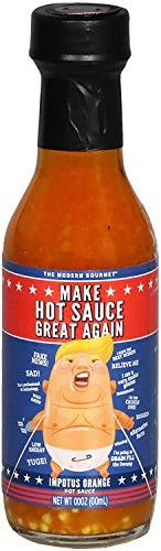 Modern Gourmet Foods, Salsa Piccante Presidente Trump, 'Make Hot Sauce Great Again', Bottiglia di Vetro Riempita con Salsa Piccante Arancione