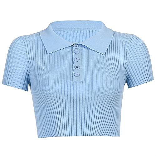 ZMK-720 Y2k Crop Top Shirts Cultivo Top sólido Puntos de Punto Camiseta de Manga Corta Mujeres Coreano Chic tee Top Tshirt Summer Pullovers (Color : Blue, Size : M)
