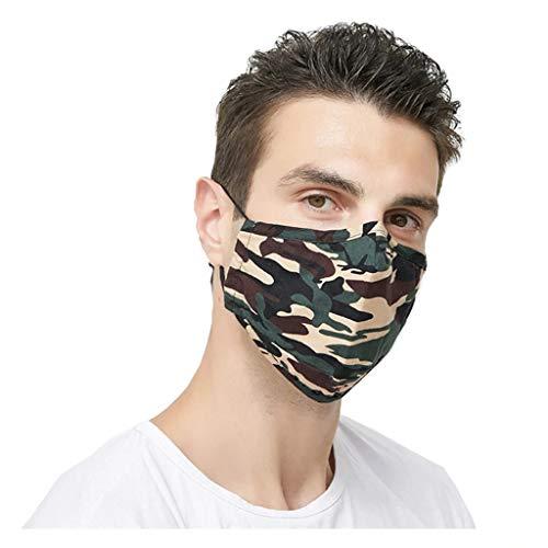 2er Set waschbare Mundmasken - Verstellbare Schlaufen - für Freizeit Sport Training Mundschutz Staub Pollen Gesichtsmaske Fashion Maske Gesichtsschutz Sportmaske (Camouflage-Grün)