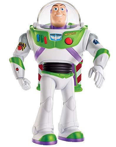 Disney Pixar Toy Story 4 Figurine parlante Buzz L'Éclair Super Action avec ailes dépliables, lumières, sons et marche, version française, jouet pour enfant, GGK17