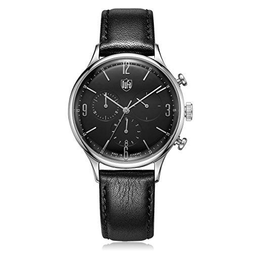 DuFa Unisex Chronograph Quarz Uhr mit Leder Armband DF-9002-01