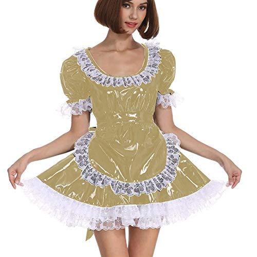 Cosplay Blanco Lace Distribuidor Cosplay Costume Dama Manga Corta Lolita Mini Vestido Precioso Vestido de Lujo de Cosplay con Delantal Traje mucama (Color : Light Brown, Size : XL)