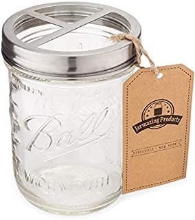 Jarmazing Products Mason Jar Toothbrush Holder - with 16 Ounce Ball Mason Jar – Made from Rust-Proof Stainless Steel