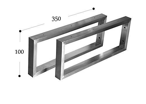 CHYRKA Wandkonsole Edelstahl 201 40x20 Träger Regalträger Regalhalter Konsole Waschbecken (100x350 mm - 1 Paar)