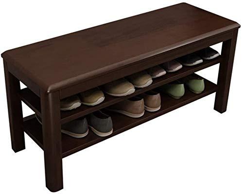 LYQQQQ Schuhregal Massivholz-Schuh-Bank 2 Schicht-Badezimmer-Schrank Sofa Hocker Geeignet for Schlafzimmer Wohnzimmer Korridor Regal Bearing Gewicht 150 kg (Color : Brown, Size : 60cm/23in)