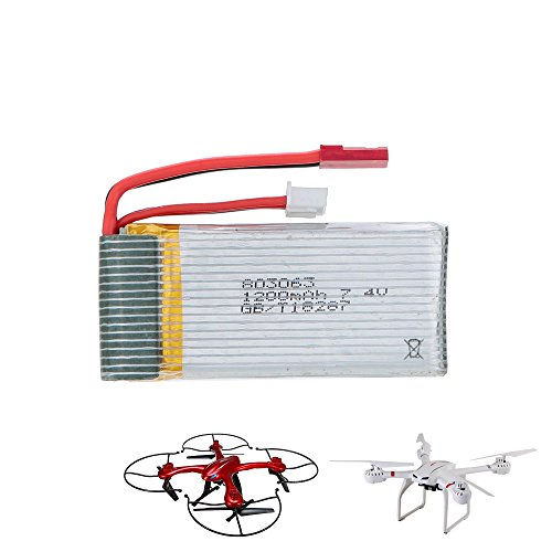 Unbekannt MJX 1200mAh 7.4V Akku für RC Quadcopter X101, x102 und X102H, Original Ersatzteil, Modell, Neu