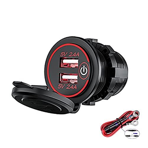 HUIXIAN XXIPO STRC Cargador de teléfono de Coche USB Dual QC3.0 5V 2.4A USB Cargo AUTOMÁTICO Carga LED Luces de Cigarrillo Encendedor Impermeable 12V Accesorios (Color Name : 5V 2.4A Red 1pc)