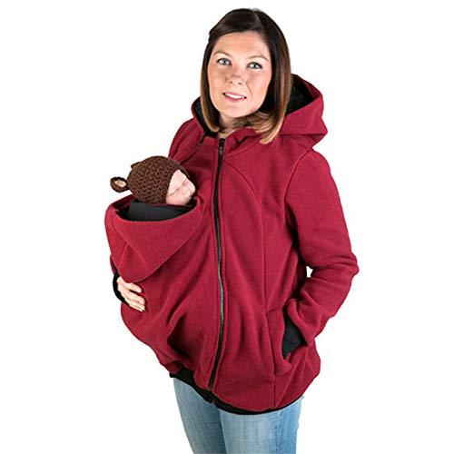 SXZZ Schwangere Baby-Tragen LKW-Sweatshirt-Jacke Mit Kapuze Känguru Schwangerschafts-2 in 1 Schwangere Baby-Trage Halter Pullover Babytrage Jacke,Rot,XL