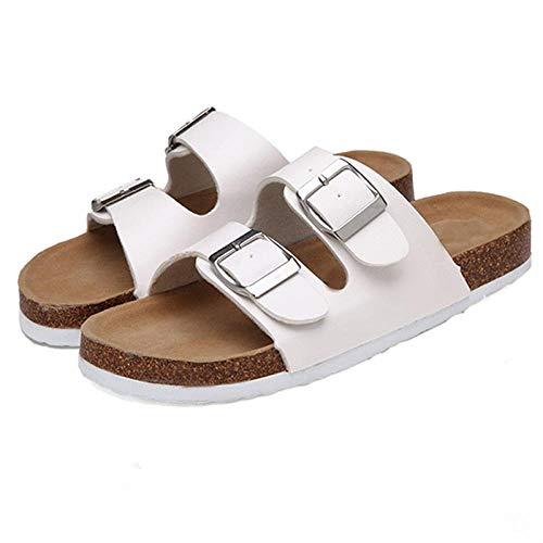 bjyxszd Zapatillas de Estar por casa,Zapatillas Casuales Dos Botones de Fondo Plano Deportes de Corcho y Sandalias al Aire Libre Pareja Antideslizante Pareja Piscina Flip Shoes-Blanco_42